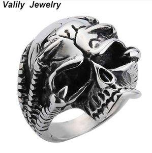 Valily Männer Ring Schädel Silber Schwarz Punk Skeleton Claw Ring Für Männer Edelstahl Ring Schmuck Hip Hop Party Weihnachtsgeschenk