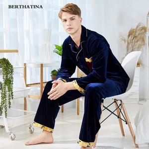 BERTHATINA 2018 New Men 's Sleepwear Automne Hiver Épaississement Chaud Flannel Hommes Pyjamas Ensembles Loungewear Pyjama Polaire Confortable