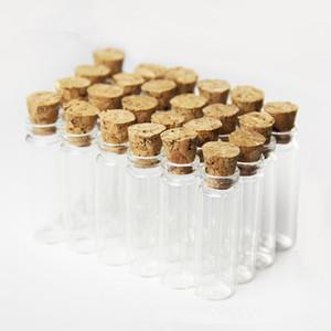 2ml Mini Bayonet Glass Jars Pendenti Trasparenti Bottiglie di vetro trasparenti con bottiglie di desiderio in sughero Charms Nuovo arrivo F20173754