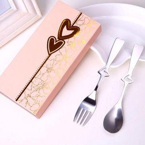Parti Hediyelik Eşya Düğün Hediyeleri Mükemmel Çifti Kalp Kahve Kaşık ve Hediye kutusunda Çatal Ücretsiz Kargo LX3281