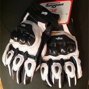 Guanti da moto da uomo Furygan AFS6 Classic Black White Winter Guanti da moto antivento in pelle Racing con protezione in carbonio