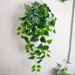 La decoración vegetal artificial de látex plantas verde hiedra flores plásticas vid hoja artificial de la vid falsa Foliage Pared Garland pared verde falso Ha Ckbv