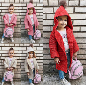 Girls knitting sweater cardigan children pompom hooded long sleeve outwear kids princess long cardigan outwear pink red apricot A01299