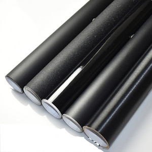2 unids 50 * 150 cm Cuerpo Del Coche Flim Mate Negro Exterior Estilo Pegatinas Cepillado / Brillante Negro Vinyl Wrap Film Super Cool