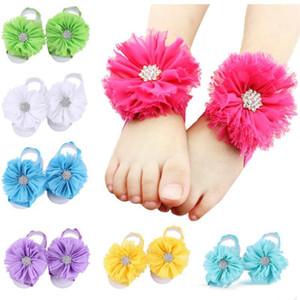 Baby Sandali Flower Shoes Barefoot Foot Flower Cravatte Cute Pietre strass Fiore Sandali a piedi nudi Polsini Fotografia Puntelli