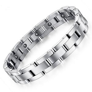 NewPopularJewelry Silver Men Hand Chain Energy Health Germanium Magnetic Bracelet Hombres Pulseras de acero inoxidable para mujeres Hombres