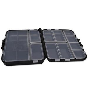 2 Capa multifuncional desmontable plástico de pesca de cebo señuelo ganchos Tackle caja de la caja de almacenamiento de accesorios con compartimentos