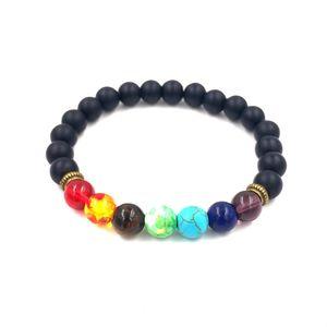 Noir lave volcanique pierre 7 Chakra Bracelet, Bracelet Yoga Pierre naturelle, Reiki guérison Prière équilibre Bouddha Perles Bracelet