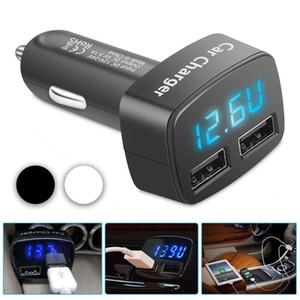 الموانئ المزدوجة 3.1A USB شاحن سيارة ولاعة السجائر 12V / 24V الرقمية LED الفولتميتر Shpping مجانا