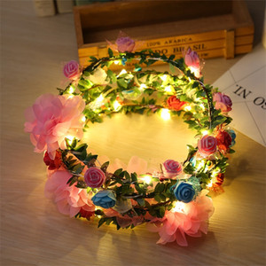 Moda LED parpadeante guirnalda chica Beach Travel Diadema Rattan Glow Garland novia de la boda Dama de honor Floral Crown Decor 6 5bz YY