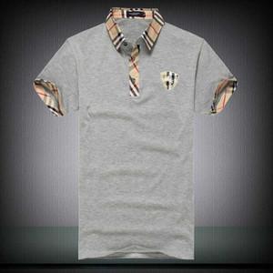 Marka erkek Polos Gömlek çizgisiz üst giysi pamuk nitel rahat nefes yaka kısa kollu T-shirt. 7 renk M-2XL Beden