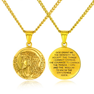 "Christian Serenity Prayer Necklace Stainless Steel Virgin Mary Jesus Christ Medal Pendant Necklace with 24"" Chain For Men Women"