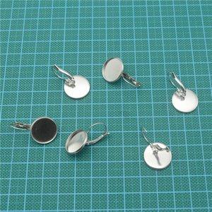 100 stücke Edelstahl Französisch Ohr Haken mit 8-25mm Runde Einstellung Fach für Glascabochons DIY Ohrring finden