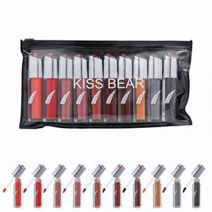 Popfeel KISS BEAR 10 색 액상 립스틱 세트 오래 지속되는 여성 화장품 메이크업 리퀴드 립스틱 매트 립 글로스 세트