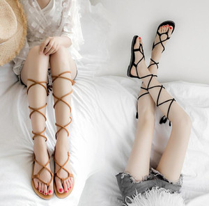 New Women Sandals Gladiator Casual Lace Up Flat Sandals Fashion Women Cross Tie Ankle Strap Flat Heel Summer Luxury Sandals