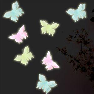 simulazione luminosa 3d stereo farfalla fluorescente adesivi parete 10pcs TV doppio strato parati pittura decorativa sticke PVC