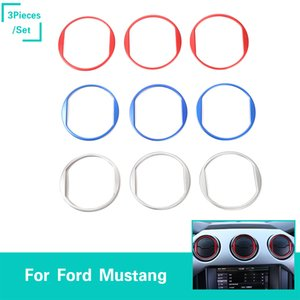 Car Dashboard Central Vent Decoration Circle Ring Aluminum Alloy For Ford Mustang 2015+ Auto Interior Accessories
