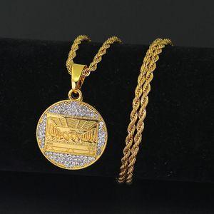 Collana Leonardo da Vinci L'ultima cena per gli uomini Bling ghiaccia fuori placcati oro Hip hop monili delle catene di Hip Hop