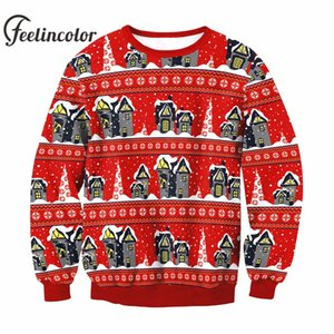Feelincolor Ugly Christmas Sweater Hombres Santa Clus Unisex Suéteres Moda Red X-mas Sweater para Hombres Mujeres Navidad Pullovers