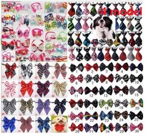 100 adet / grup Sıcak satış Renkli Pet Köpek yavru Kravat Bow Kravatlar Kedi Kravatlar Köpek Bakım Malzemeleri için küçük orta büyük köpek 4 modeli LY05