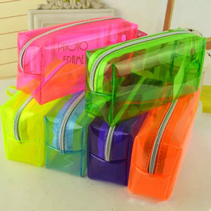Pencil Bags PVC Pencil case students pen boxes candy color student suppy supplies bag epacket free shipping