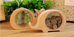 Animales de madera caja de ahorro de dinero mejores regalos para niños elefante huchas monedas banco de hipopótamo de ballena transparente caja de almacenamiento de dinero lin2269