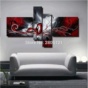 pintado a mano óleo abstracta pintura rojo negro del arte de la pared de lona blanca rojo cuadro de la pared negro pinturas modulares para la sala de estar