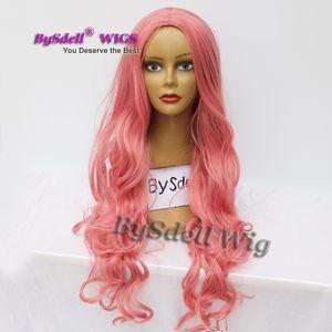 Pas cher sirène cosplay perruque synthétique glacé rose couleur lâche curl vague costume perruque parti résistant à la chaleur rose cheveux perruques