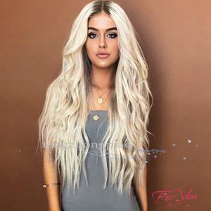 FZP длинные волны тела блондинка парики Glueless полный парик фарфора волосы, как парики человеческих волос для чернокожих женщин лучший Шелковый синтетический парик