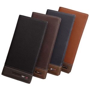 Мужские кожаные односторонние кредитные карты Держатель Длинные кошельки кошелек чековая книжка сцепление