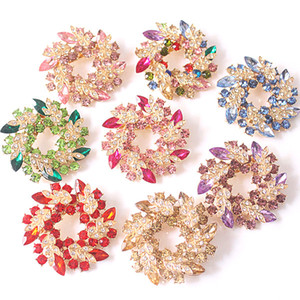 Luxury Bling Austrian Crystal Flower Wreath Brooches Pins Colorful Rhinstone Lovely Sweater Broach Scarf Buckle Brooch Rainbow Green Purpl