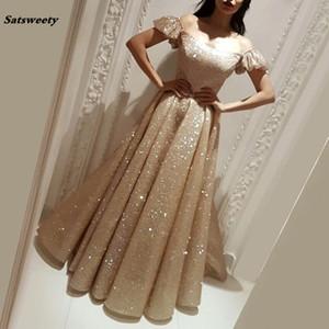 African Off Schulter Abendkleid 2021 Türkisch Arabisch in Dubai formalen Abschlussball-Kleid-Kleid für Hochzeiten Kaftan Vestidos Glitter