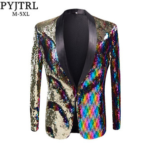 PYJTRL новый мужской стильный Золотой раскрашенный двойной цвет блестки блейзер ночной клуб бар этап певица костюм свадьба жених костюм куртка