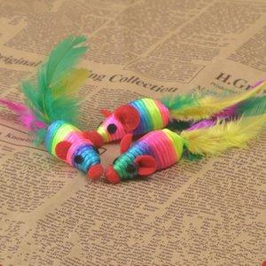 Moda pequeñas fuentes del animal doméstico colorido Sisal gato juguete lindo ratón forma juguete del animal doméstico 50 unids/lote T2I306