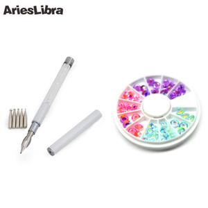 Venta caliente Nail Art Set 1 unid 2 vías de acrílico UV Gel Drill Point Pen + 1 caso Rhinestones del clavo para Art Kits diseño