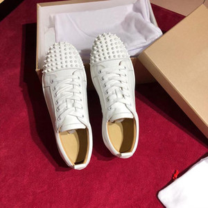 Fashion Men's Spikes Flats shoes Red Bottom Shoes For Women Mens Party Lovers Genuine Leather Sneakers with Box