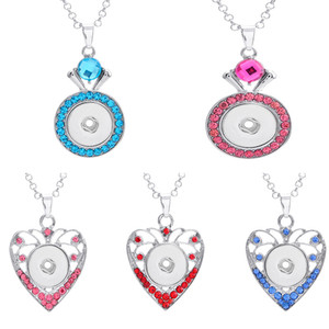 Fashion Noosa Round Love Heart Crystal Ginger Snap Button Pendant Necklace Jewelry DIY matching 18mm ginger snaps charms women