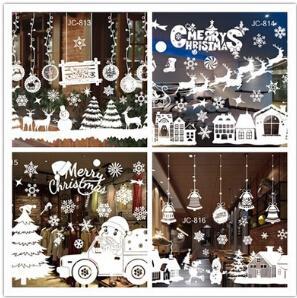Natal Etiqueta Estática Floco De Neve Removível Natal Etiqueta Da Janela De Vidro Com Elk Tree Pequeno Sino Para Decoração de Natal