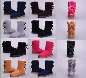 2018 Winter Australia Classic Schnee Stiefel hohe Qualität WGG hohe Stiefel echtes Leder Bailey Bowknot Frauen Bailey Bogen Knie Stiefel Schuhe
