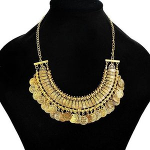 Fashion Maxi Flower Power Collar Pendant Necklace vintage 2018 gypsy Ethnic statement Silver Plated Coin Tassel Necklace for Women Jewelry