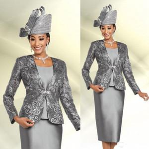 Silver mère de la mariée robe trois morceaux veste manches longues mère de la mariée paillettes de dentelle de la mariée Plus Taille de promesse de promesse