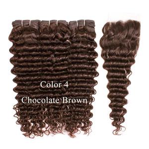 Beso Cabello Deep Wave Color 4 Marrón chocolate 3 Paquetes con cierre de encaje Raw Virgin Indian Remy Color de cabello humano 2 Marrón oscuro