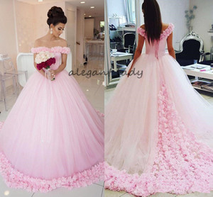 Gorgeous Ball Gown Prom Dresses Off Shoulder Short Sleeves Tulle Puffy Floral Long Evening Gown Fairytale Pink Quinceanera Dresses