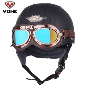 YOHE Motorcycle Helmet Leather Retro Pilot  Scooter Vintage Half Helmets Casque Moto Casco Capacete with A122 Goggles