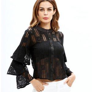 Women's Ruffle lace blouse shirt sexy Hollow out floral white blouse female tops Elegant fashion chiffon blouse autumn
