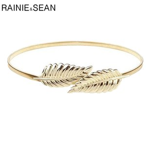 Rainie SEAN Stretch-Gürtel Matel dünne Kette Frau Gürtel Kleid Elastic Goldene Sliver Modedesigner Luxus Blatt Female Gürtel