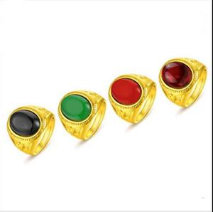 L'anneau européen plaqué or 24K et les amateurs de mode dominateurs all-match Vietnam Gold Ruby Ring