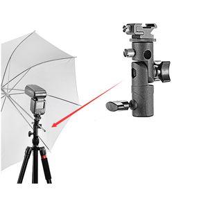 2018 Nueva Swivel Flash Hot Shoe Umbrella Holder Adaptador de montaje para Studio Light Type E Soporte Soporte Fotografía Accesorios