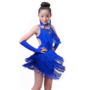 Competencia Girls Latin Dance Dress Disfraces Child Ballroom Dance Costume Salsa Latin Dance Dress Para niñas Latin Dancing Dress