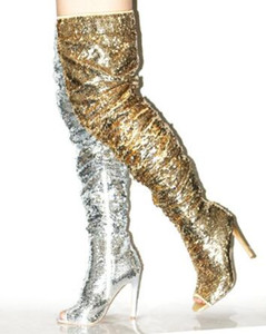 2018 مثير مطرزة فوق الركبة أحذية النساء أشار تو الجانبية زيبر المصارع الصنادل الأحذية يتأهل كعب رقيقة بلينغ بلينغ طويلة التمهيد